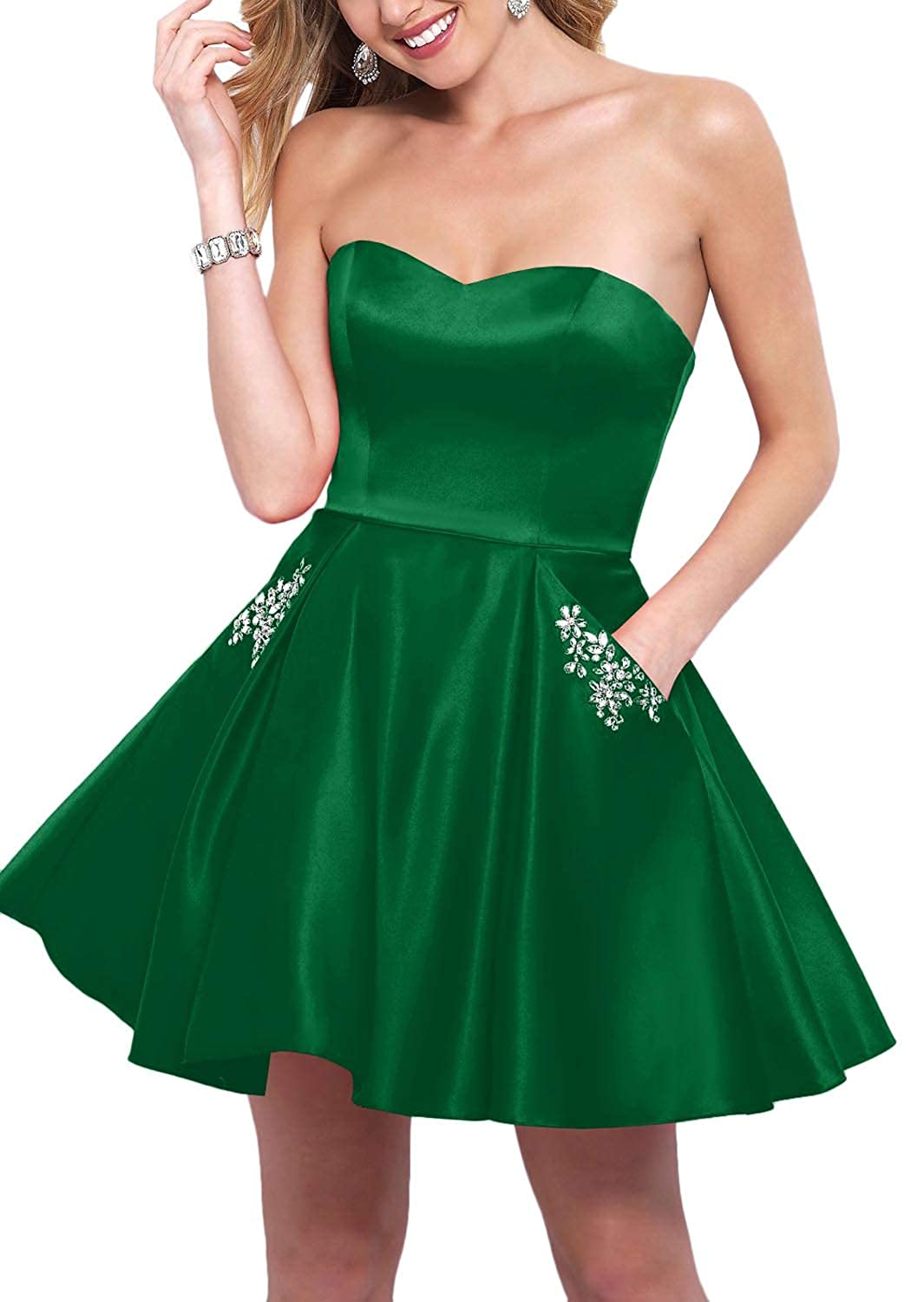 Green YnanLi Dress Short Ball Gown Homecoming Dresses 2019 Strapless Sweetheart with Beaded Pockets