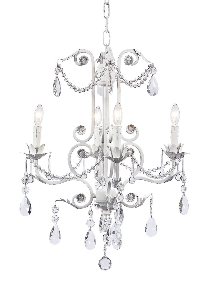 White Jubilee Collection 7502 4 Arm Valentino Chandelier