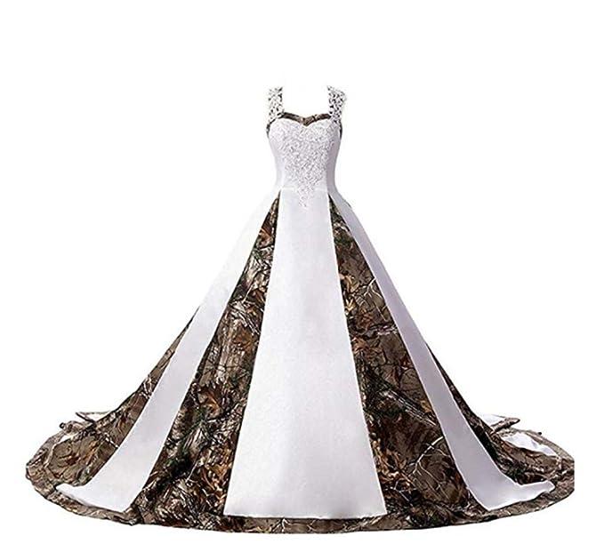 Kaitaijidian Women\'s Straps Camouflage Wedding Dresses for Bride Long Camo  Bridal Gowns Plus Size