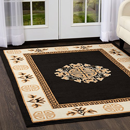 Antique Gold Rectangle Rug (Home Dynamix 7114-502 Sultan Transitional Area Rug 3x5 Black/Gold)