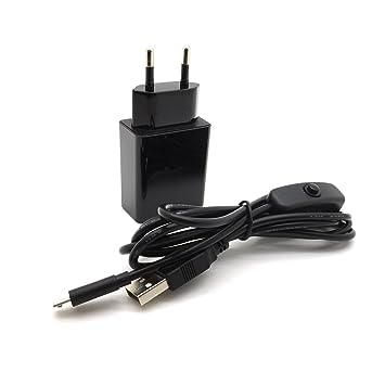 AptoFun - Cargador Micro USB (5 V, 2 A, con botón de Encendido y Apagado en el Cable, para Arduino UNO, Nano Raspberry Pi 3/2 y Smart Phone, iPhone, ...