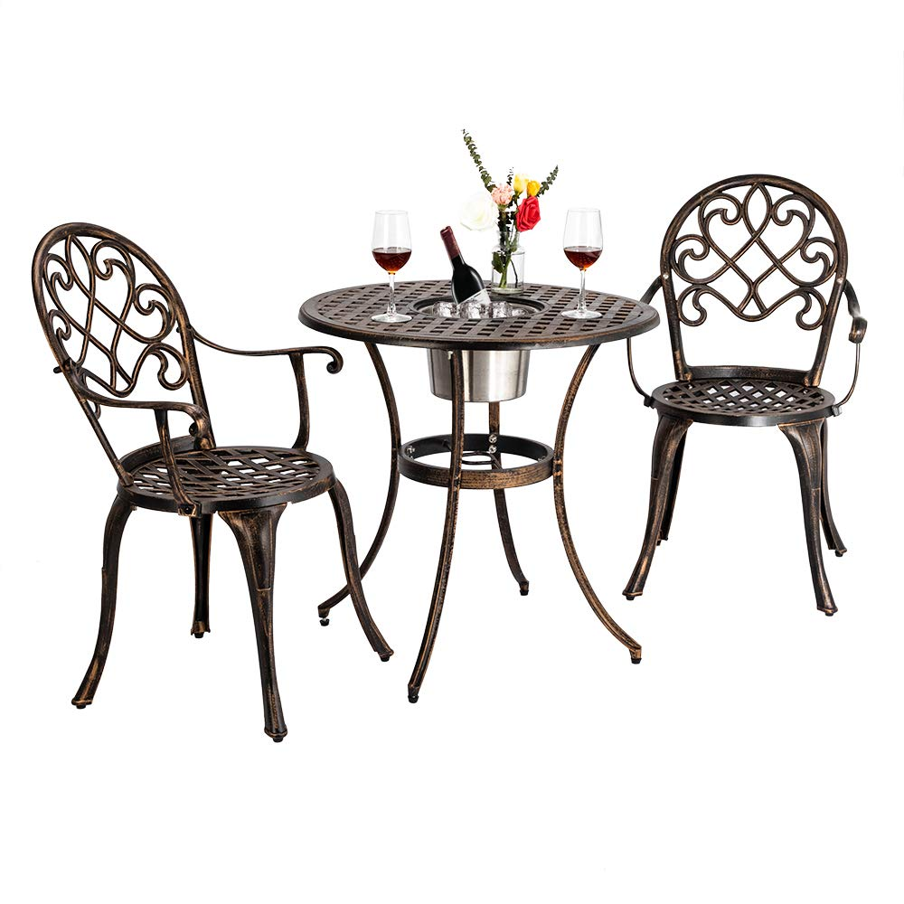 Bonnlo 3 Piece Bistro Set with Ice Bucket, Antique Outdoor Patio Furniture Weather Resistant Garden Aluminum Table and Chairs for Backyard Pool