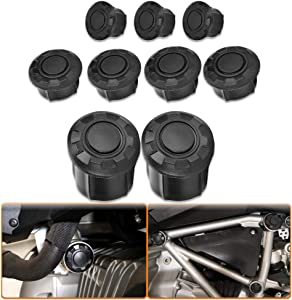 Qiilu Frame Hole Cap Cover Plugs Cover Caps Plug Kit Decor for BMW R1200GS LC Adventure 2014-2018 R1250GS Adventure 2019 - 9pcs