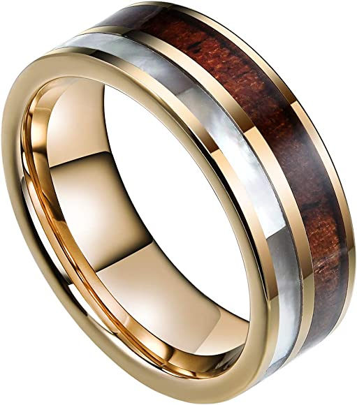 Doux 8mm Mens Tungsten Carbide Ring Real Koa Wood Rare White Shell