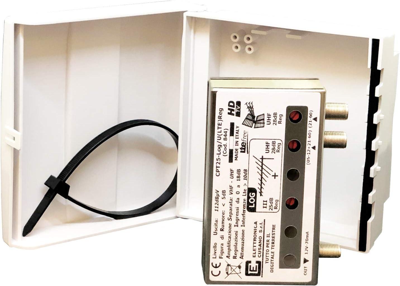 cpt25-log/U (LTE) REG – Amplificador de Poste con Filtro LTE de 2 entradas: Log O UHF – Ganancia 26dB – para Zonas con señal de Media/Baja Intensidad