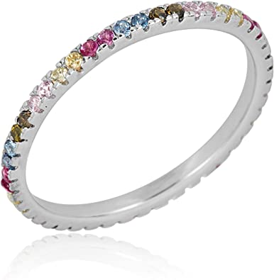 Brightt Rose Gold Plated Cz Eternity Band .925 Sterling Silver Ring Size 4