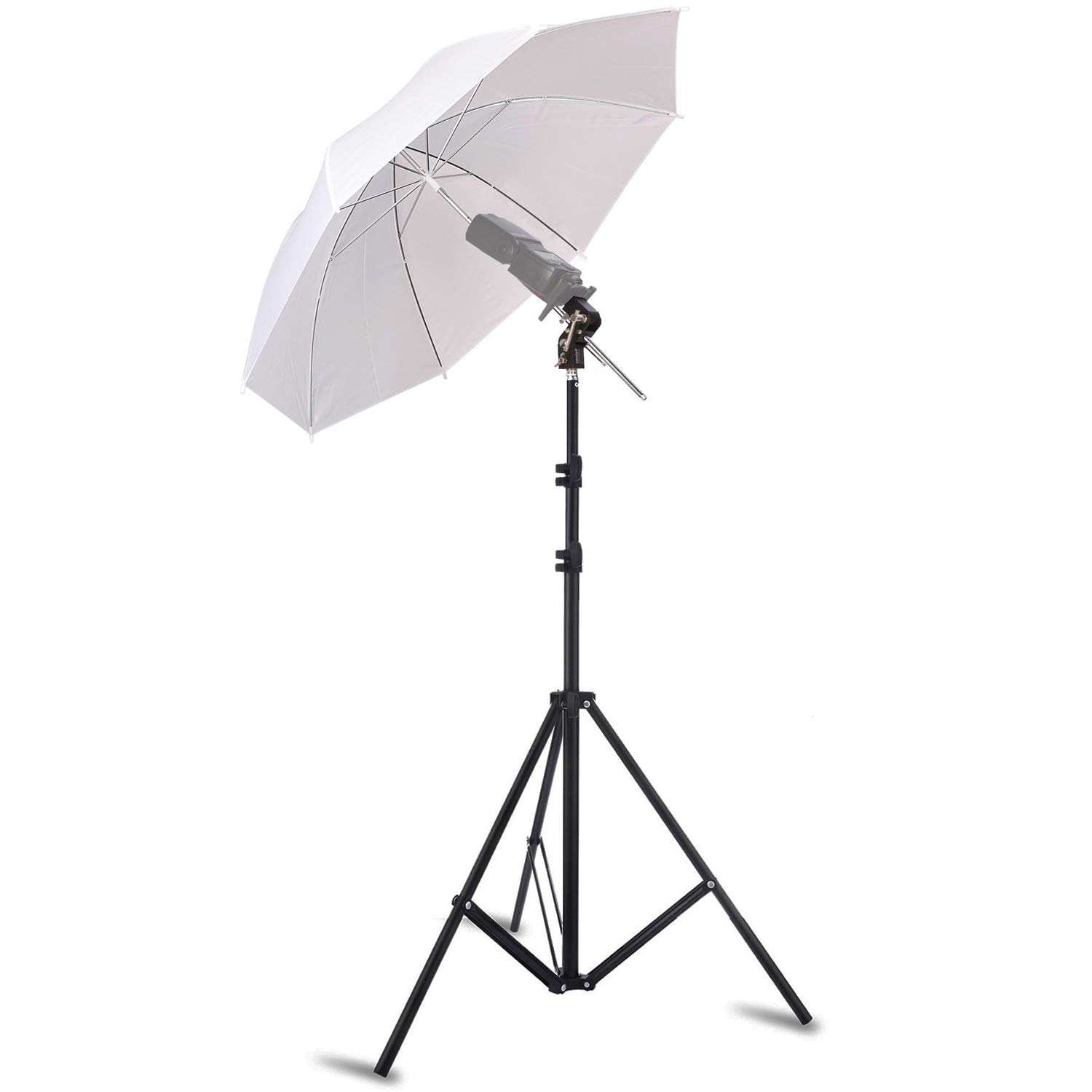 Selens Photo Umbrella Kit 33''/84cm White Soft Umbrella with Light Stand and Metal Flash Bracket Mount for Portrait Photography, Studio and Video Lighting