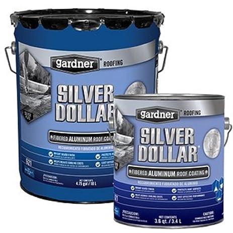 Silver Dollar 6215GA Silver Dollar Aluminum Roof Coating   5 Gallon