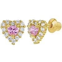 In Season Jewelry - Enfants - Cœur Boucles d'oreilles - Plaqué or 18k - Rose Cristaux Clairs - Tiges poussettes sécurité à vis