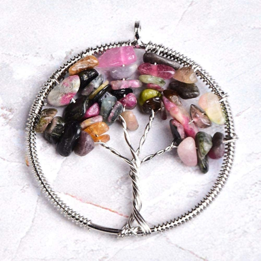 SDJH 1 unid Piedra Natural Cristal árbol de la Vida Colgante Moda Simple Colorido Cuarzo Rosa para Hombres Mujeres joyería Reiki Chakra Regalo, turmalina