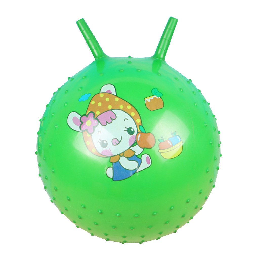 25cm Bouncing Ball With Handle Massage Horn Inflatable Toy jump Play Game Sport WSSB TOY