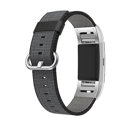 Fitbit Charge 2 Correa,SongNi® Black Woven Nylon Correa Bracelet Replacement Wrist Correa for