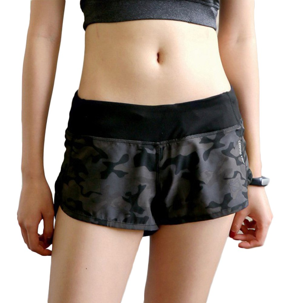 Women Running Shorts Split Camouflage Activewear Sports Fitness Shorts Gym Training Mini Pants XL