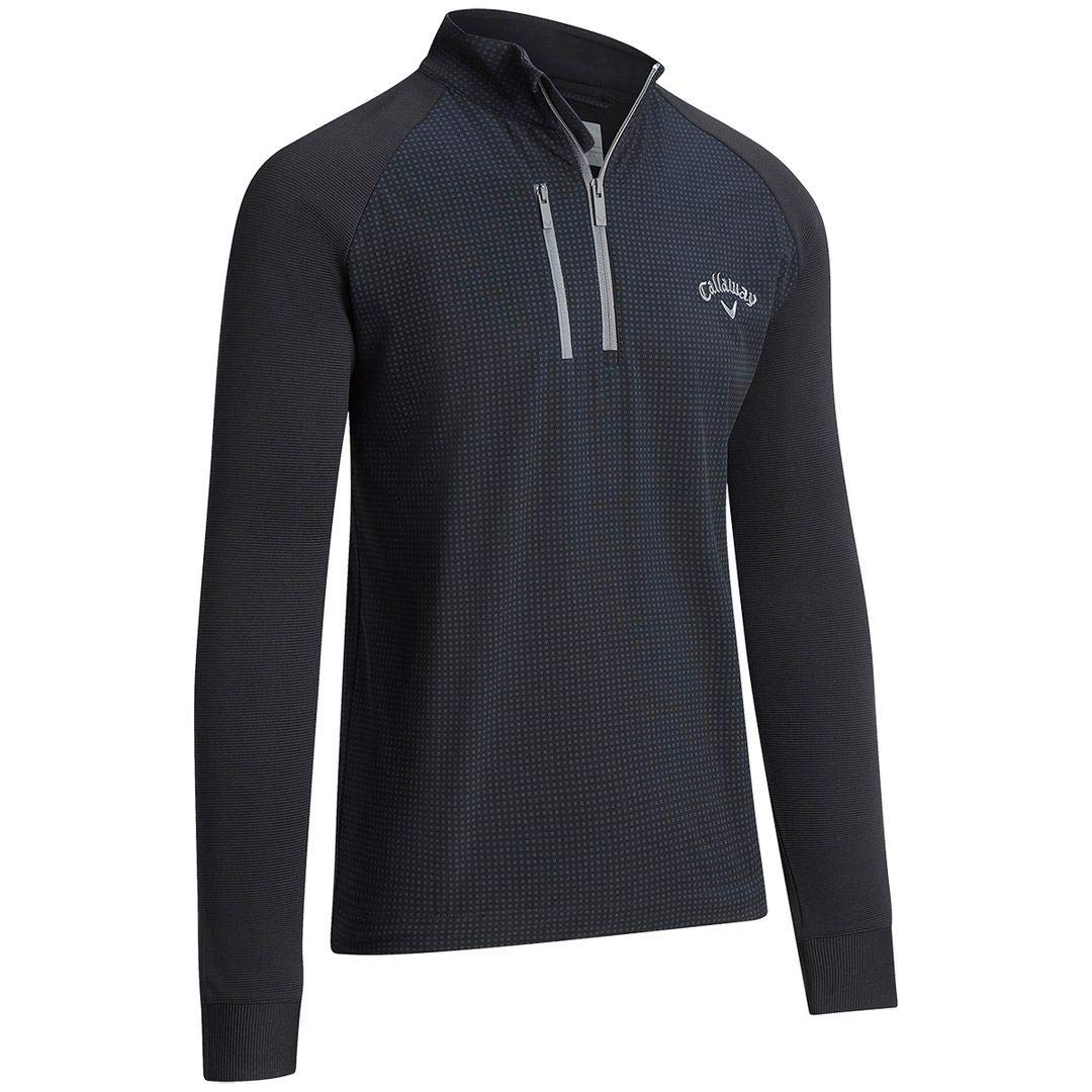 Callaway Golf 2019 Mens Printed Mixed Media 1/4 Zip Stretch Pullover Sweater Caviar Small by Callaway