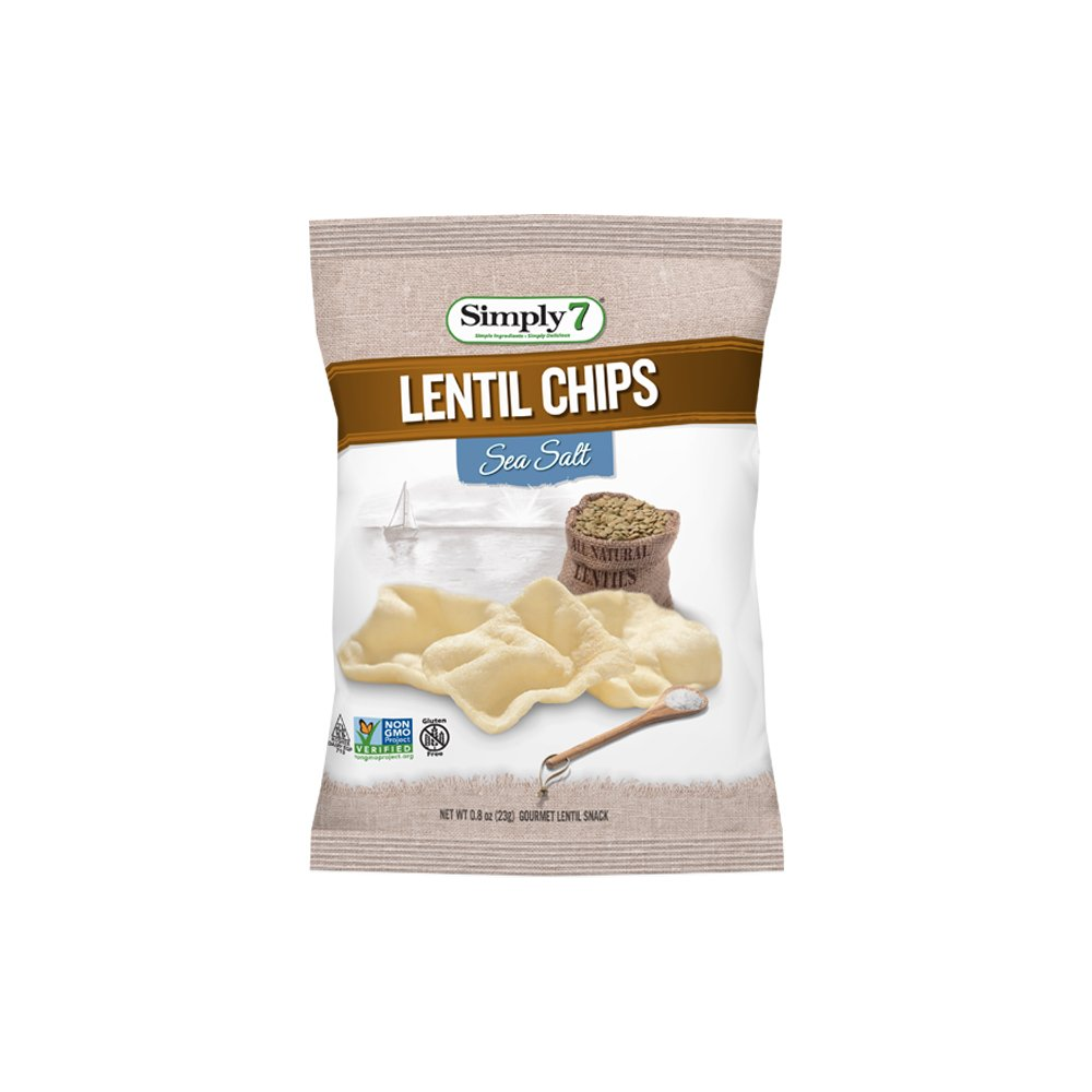 Simply7 Gluten Free Lentil Chips, Sea Salt, 0.8 Ounce (Pack of 24)