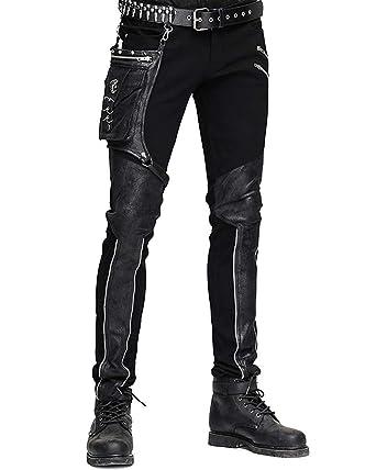 b8d090b0d0 Devil Fashion Mens Dieselpunk Pants Jeans Black Gothic Punk Faux Leather  Hip Bag: Amazon.co.uk: Clothing