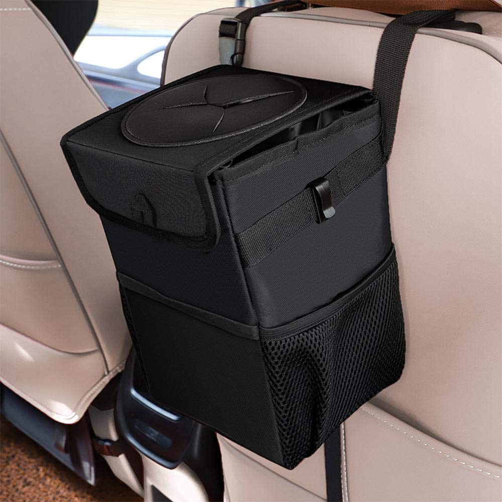 Collapsible Portable with 3 Storage Pockets Multipurpose Auto Car Garbage Bin COCOBELA Car Trash Can with Lid Waterproof Car Trash Bag Hanging for Headrest with Adjustable Strap