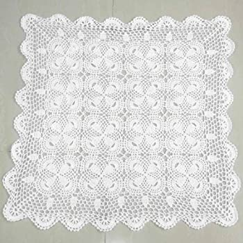 Kilofly Handmade Crochet Cotton Lace Table Placemats Sofa Doilies, Square,  White, 27 Inch