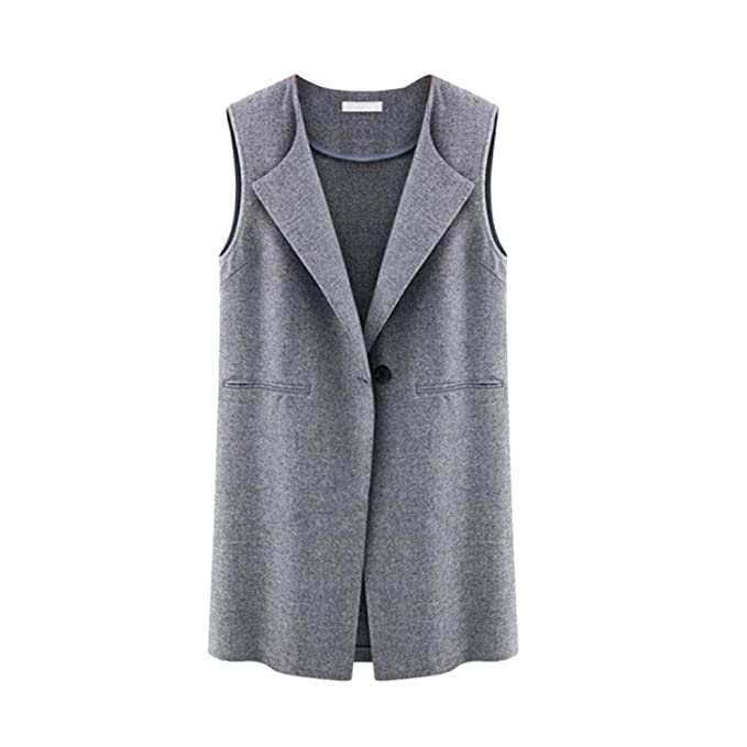 Chaqueta sin mangas para mujer Chaqueta larga Chaleco de galanes Chaleco Chaqueta de abrigo Outwear Cierre de botones y bolsillos laterales: Amazon.es: Ropa ...