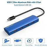 Wavlink USB C Hub USB Type C to 4-Ports USB 3.0 Hub Slim Aluminum Hub for USB-C for MacBook, Google Chromebook Pixel and More-Blue