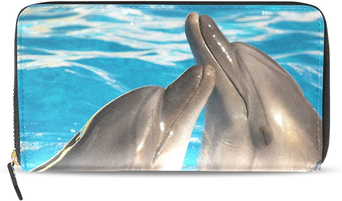 Imobaby Womens Leather Long Zipper Wallet Animal Pair Of Dolphins Dancing Clutch Purse Ty075