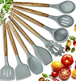 Silicone Cooking Utensils Kitchen Utensil set - 8 Natural Acacia Wooden Silicone Kitchen Utensils Set - Silicone Utensil Set Spatula Set - Silicone...
