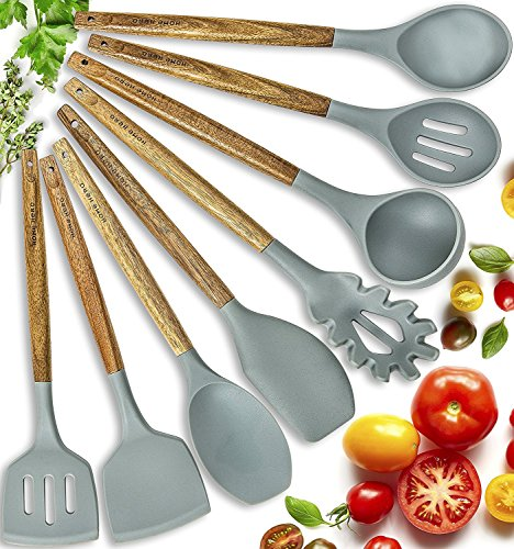 Silicone Cooking Utensils Kitchen Utensil set - 8 Natural Acacia Wooden Silicone Kitchen Utensils Set - Silicone Utensil Set Spatula Set - Silicone Utensils Cooking Utensil Set - Kitchen Tools - Cast Utensils Iron