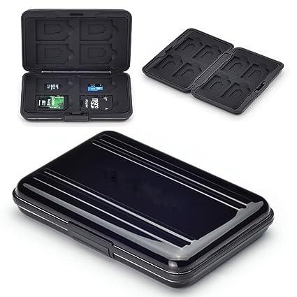 flycoo estuches para tarjetas memoria protección antigolpes antipolvo impermeable antimagnétique caja para 8 SD tarjetas 8 TF/Micro SD Tarjetas negro ...