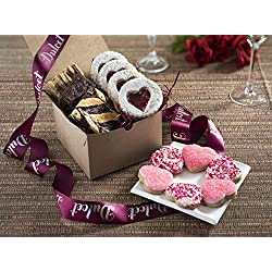 Dulcet Delightful Valentines Day Gifts- Tasty, Fresh Romantic Gifts- Includes Brownies, Heart Shape Sprinkle, Sugar and Linzar Cookies. Ideal For Your Valentines!