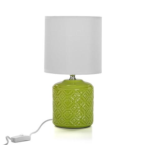 lámpara de mesa con base de cerámica Verde: Amazon.es ...