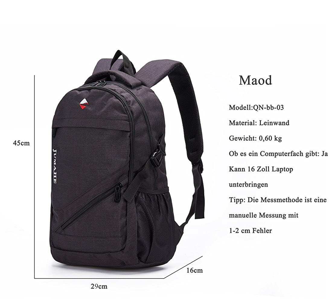 Amazon.com | Maod Unisex Pure Color Canvas Daypack Casual School Backpack Adolescent Book Bag Light Travel Bag 15.6