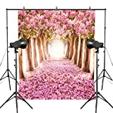 Fotoo 5x7ft Pink Flower Photography Backdrop Cherry Blossom Photo Background Studio Floral Backdrop