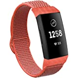 VEAQEE Nylon Bands Compatible with Fitbit Charge 3 & 3 SE Women Man Soft Nylon Band Breathable Quick Release Sport Replacement Accessories Wristband, 5.3''- 8.7''