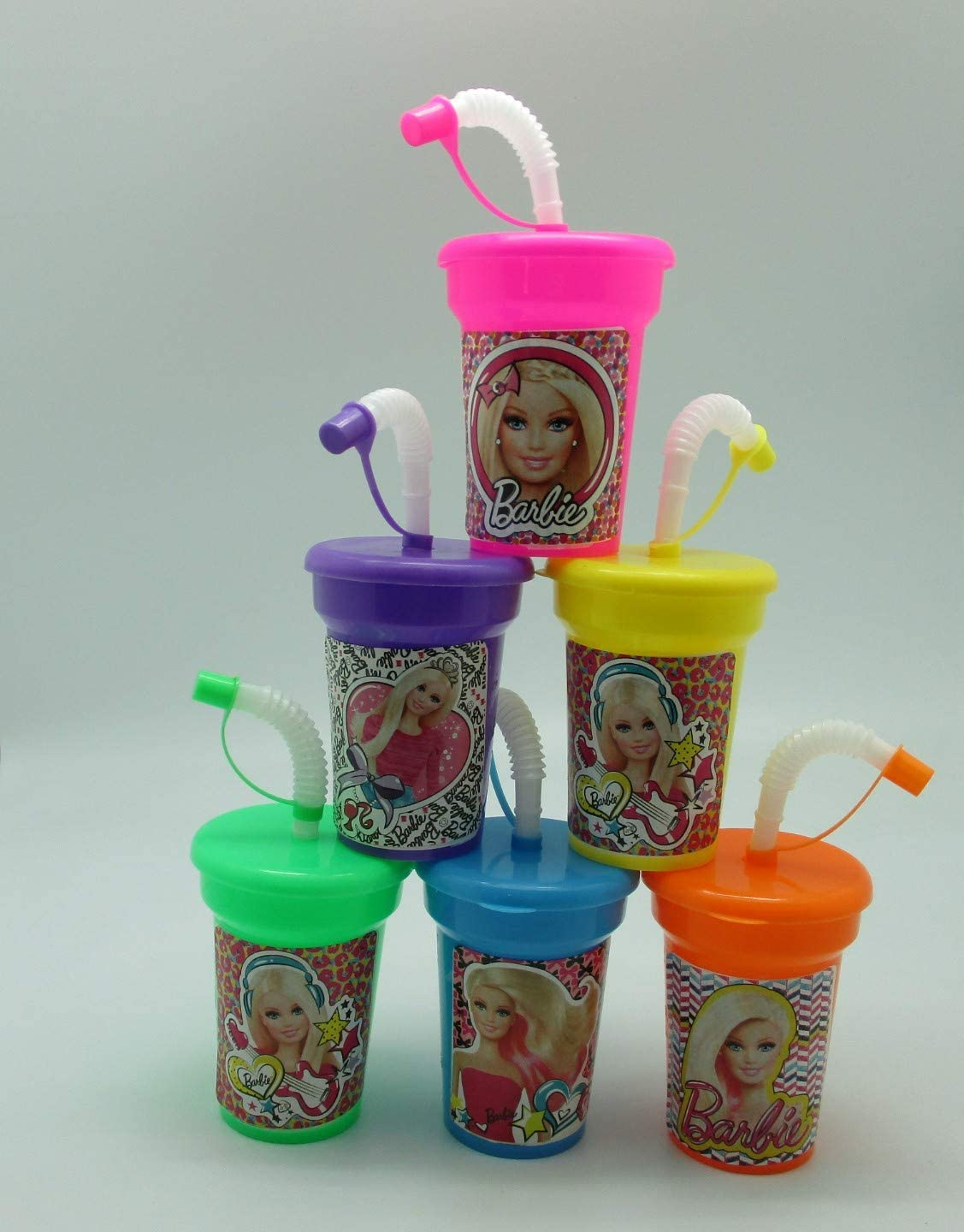 6 Barbies Stickers Birthday Sipper Cups with lids Party Favor Cups