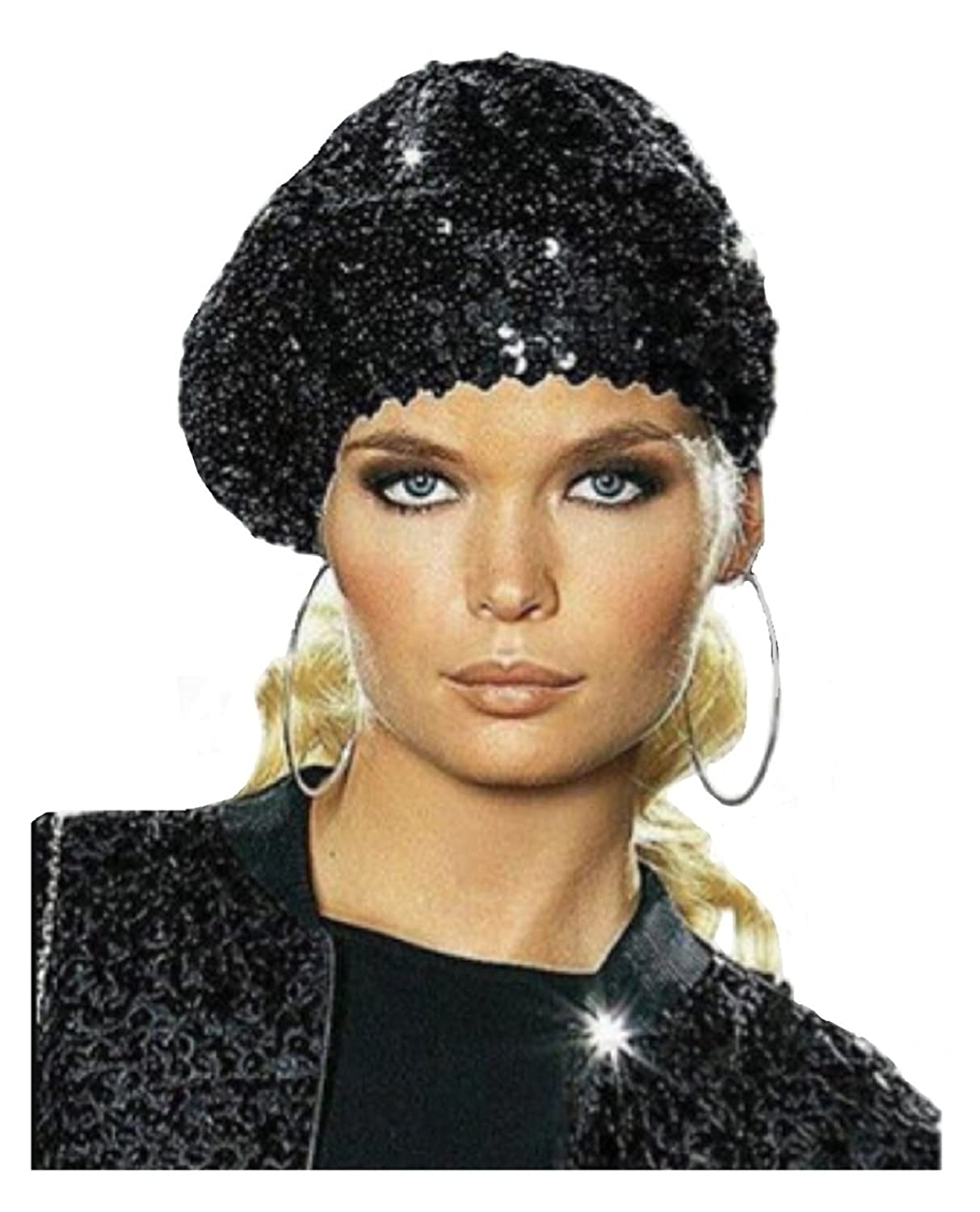 Women's Stretchy Spangle Sequins Covered Beret Hat