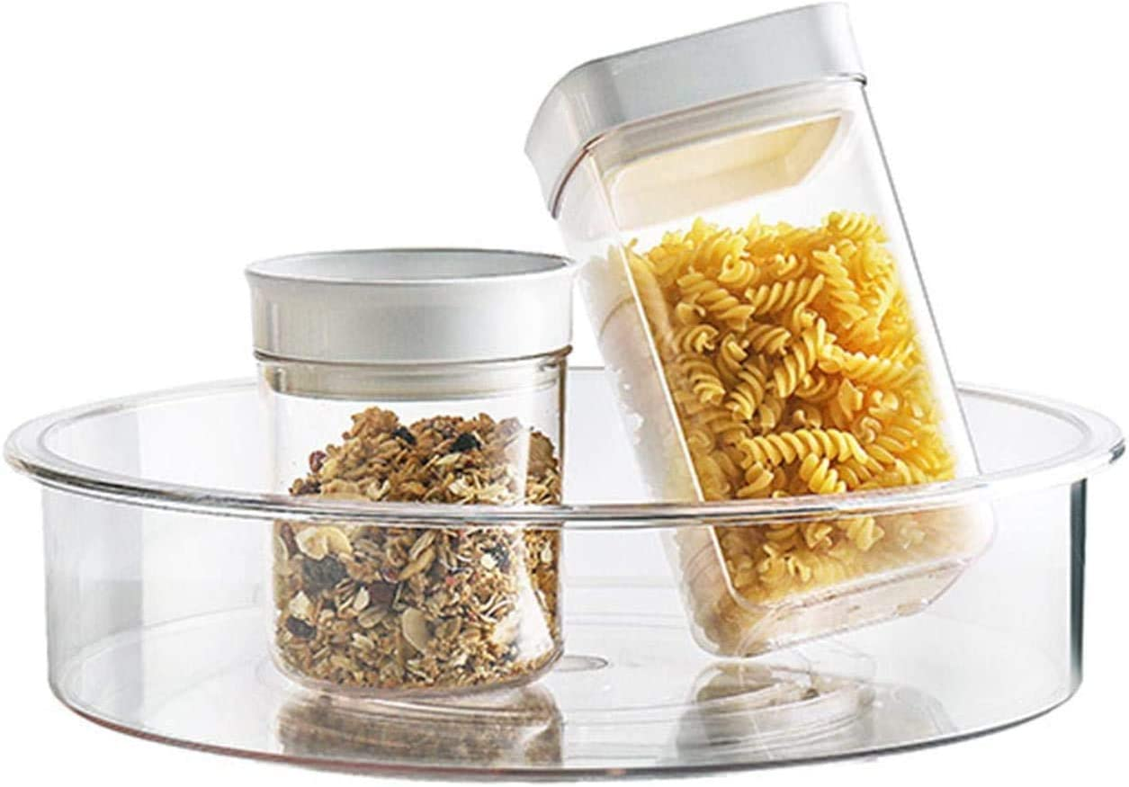 Lazy Susan Cabinet Organizer-Qunweidi 9 Inch Kitchen Cabinet Organizers and Storage,Turntable Storage Container for Kitchen Cabinet, Pantry, Refrigerator, Countertop Food Safe