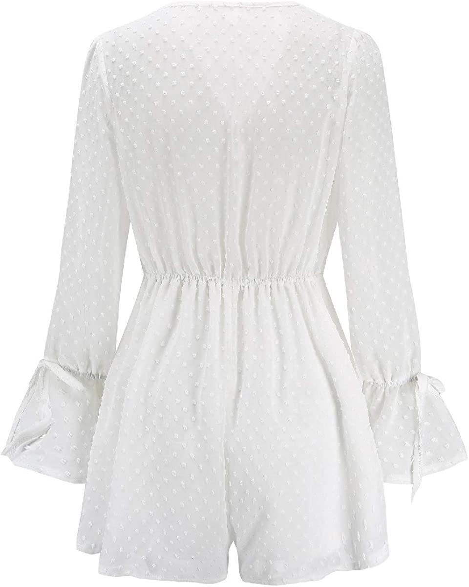 Doufine Women Pure Color Tunic Drawstring Wide Leg V-Neck Playsuit Shorts Rompers