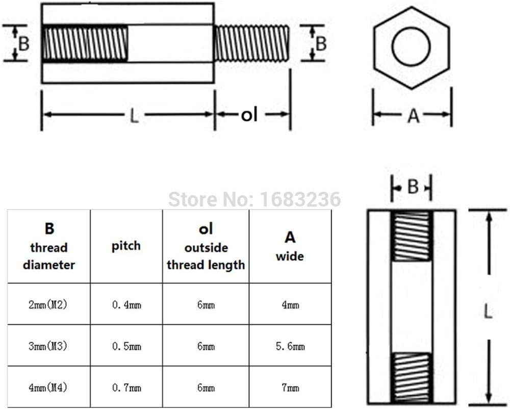 M3x15mm Hembra Rosca Nailon Hex Pilar Espaciador Pilar Negro 50 Piezas