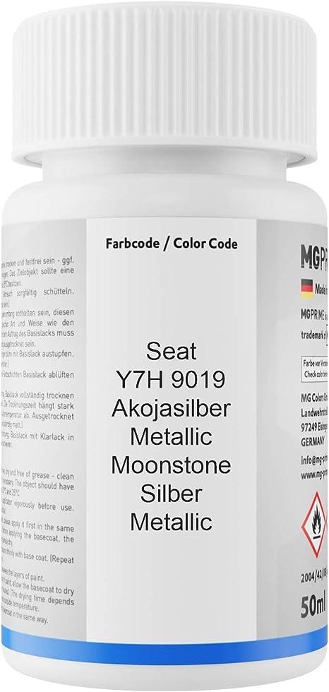 Mg Prime Autolack Lackstift Set Für Seat Y7h 9019 Akojasilber Metallic Moonstone Silber Metallic Basislack Klarlack Je 50ml Auto