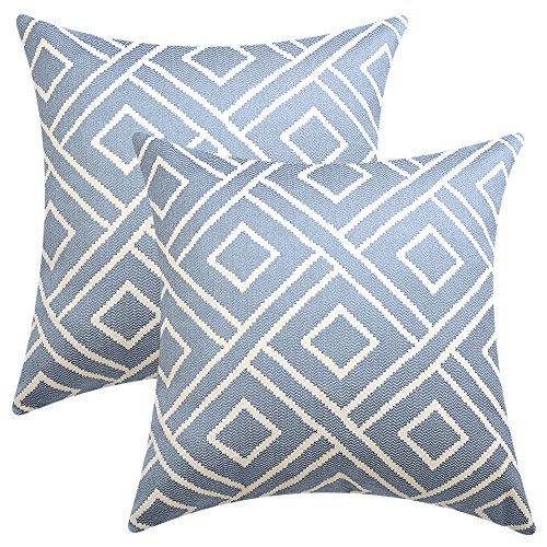 HOMFINER Blue Soft Solid Decorative Throw Pillow Cases Cushion Covers Woven Geometric Plaid Striped for Couch Bed Sofa 18 X 18 inches Set of 2 - Silk Ikat Pillow Cover
