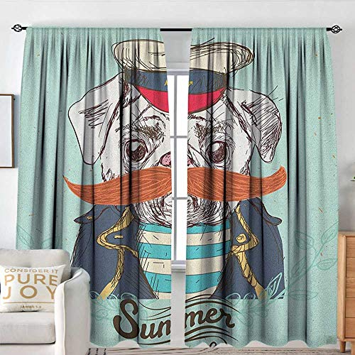 NUOMANAN Bathroom Curtains Pug,Captain Dog with Hat Mustache Jacket and Shirt Cute Animal Funny Image, Navy Blue Pale Blue Orange,Drapes Thermal Insulated Panels Home décor 54