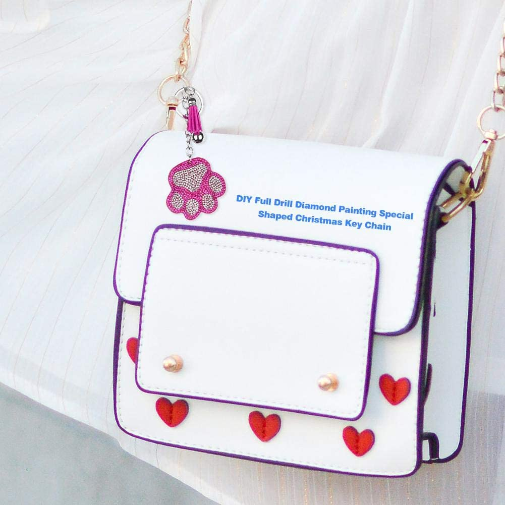 Keyrings Charms DIY Keychains Diamond Painting Keyring Making kit for Women Full Drill Rhinestone Embroidery Needlework Jewellery Keychain Girls Bag Purse Handbag Pendant Bear Paw