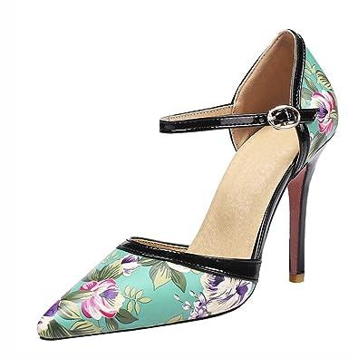 Agodor Damen Ankle Strap Spitze Sandalen mit Blumen und Riemchen High Heels Pumps Stiletto Schuhe