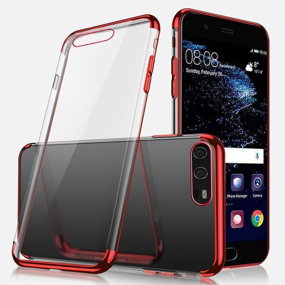 Uposao Kompatibel mit Handyh/ülle Huawei P10 Plus H/ülle Silikon Transparent Durchsichtig Handy H/ülle Plating TPU Case mit /Überzug Farbig Rahmen H/ülle Klar Silikonh/ülle Bumper,Gold