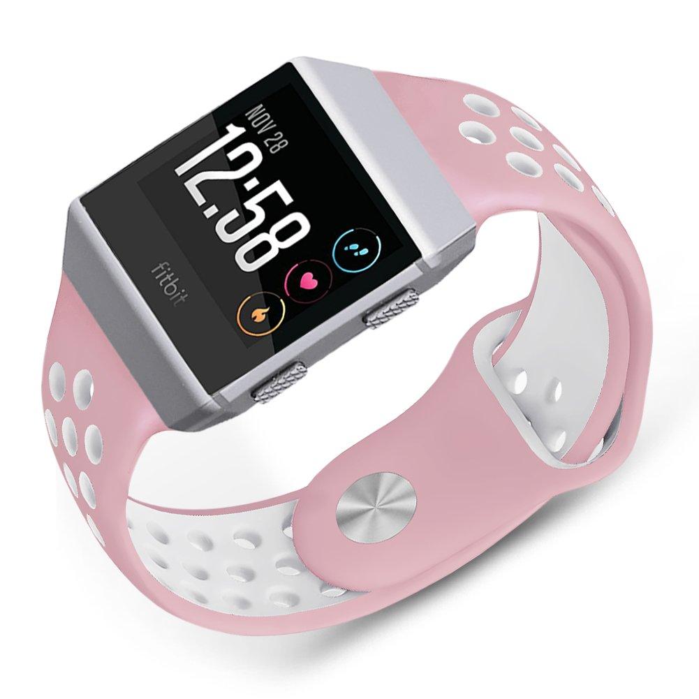 For Fitbit Ionicバンド、Skyletソフトシリコン通気性交換用リストバンドFitbit Ionicスマート腕時計ブレスレット(トラッカーなし) Large|ピンク-ホワイト ピンク-ホワイト Large B077GTHW8B