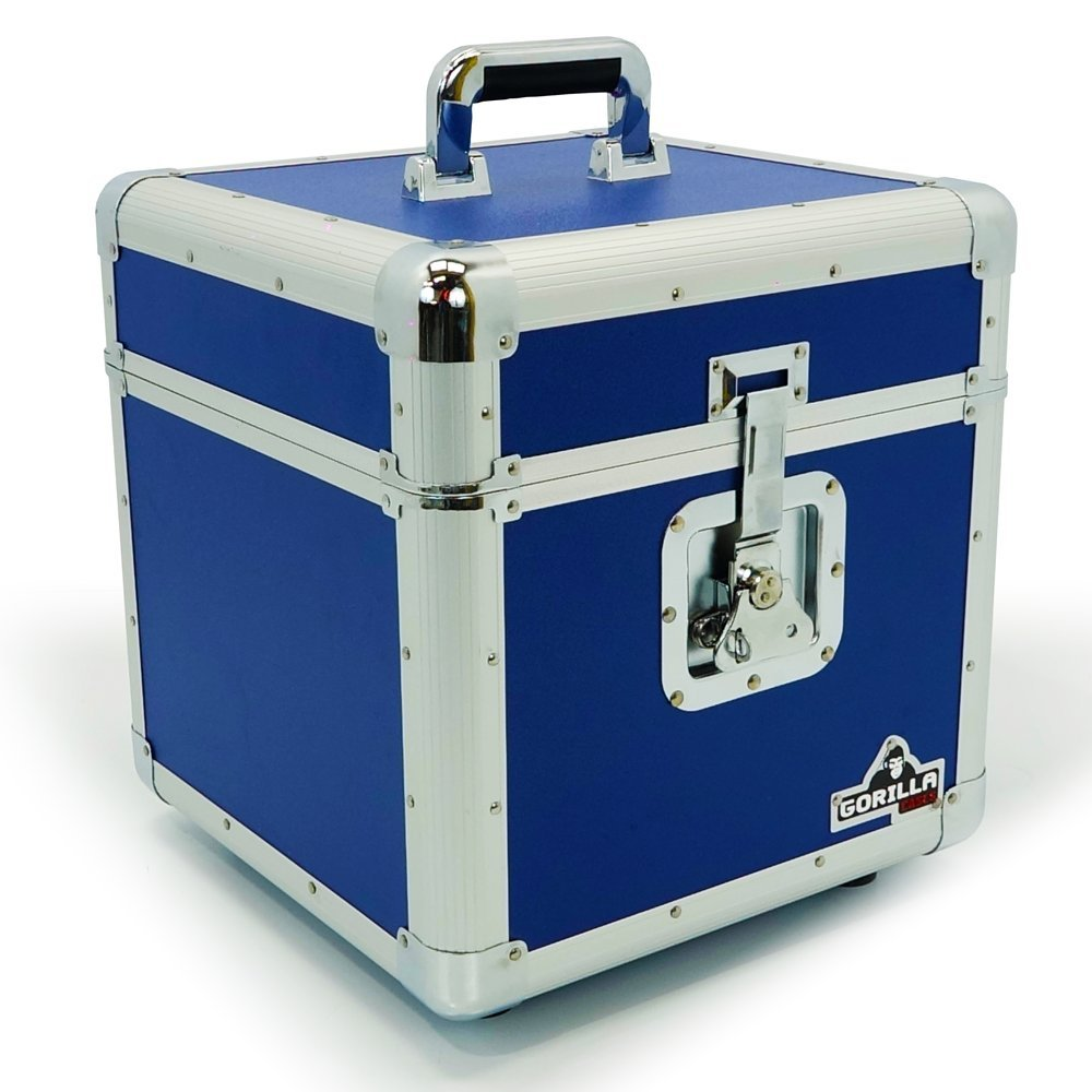Gorilla 12' LP Vinyl Record Storage Box Flight Case Blue Holds 100pcs inc Lifetime Warranty Gorilla Cases GC-LP100B