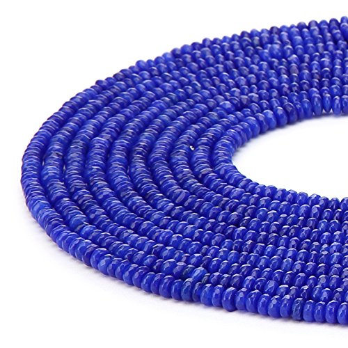 Rondelle Bead Strand - BRCbeads Lapis Color Jade Gemstone Faceted Rondelle Loose Beads 4x6mm Approxi 15.5 inch 95pcs 1 Strand per Bag for Jewelry Making