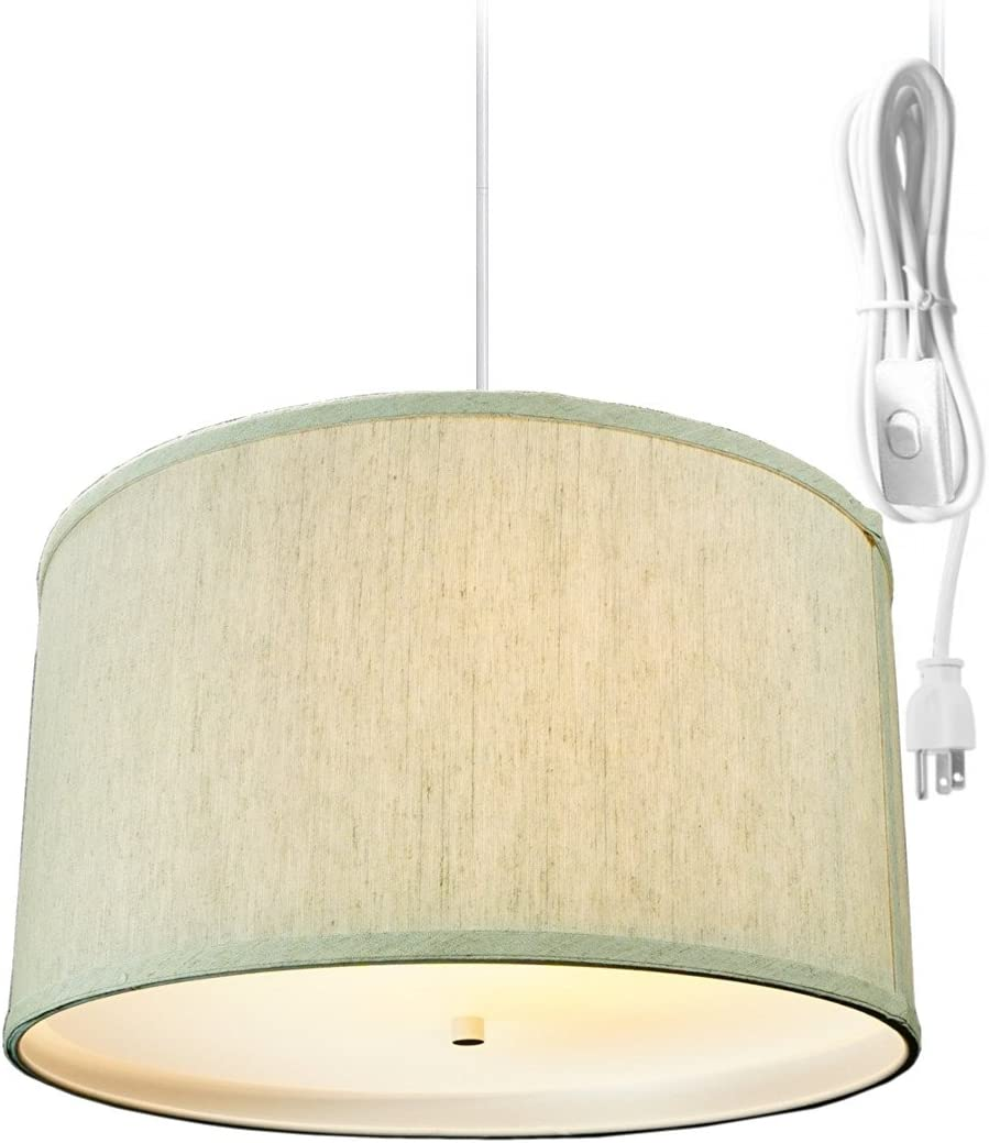 2 Light Swag Plug-in Pendant 16 w Textured Oatmeal with Diffuser, White Cord