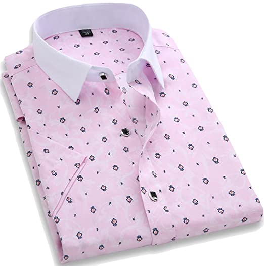ff698b9b Image Unavailable. Image not available for. Color: MLG Men Plaid Print  Lapel Short Sleeve Pocket Button Down Shirt Light Pink S