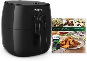 Philips Viva TurboStar Airfryer (1.8lb/2.75qt) 1425W, Black w/Bonus Cookbook - HD9621/99